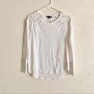 AE white thermal floral lace long sleeve shirt